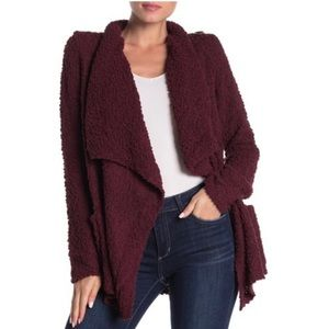 Bobeau Popcorn Draped Button Cardigan